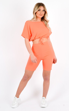 Kendal Drawstring Crop Top & Shorts Co-ord In Orange by Vivichi