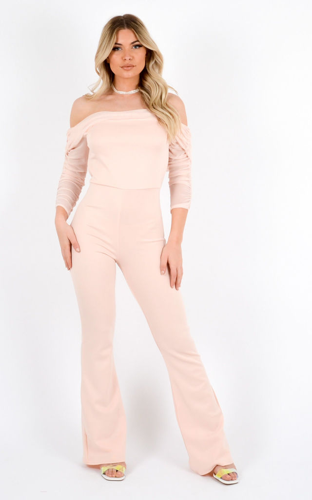 Lucy Mesh Neckline Bardot Jumpsuit In Nude by Vivichi