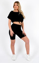 Kendal Drawstring Crop Top & Shorts Co-ord In Black by Vivichi