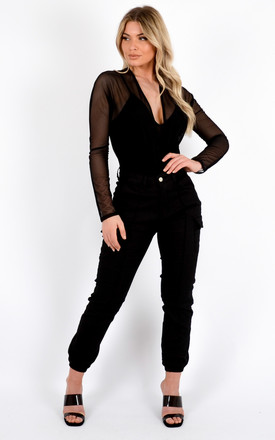 Maeva Plunge Neck Lined Mesh Bodysuit In Black by Vivichi Product photo
