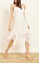 Amelia Strappy Handkerchief Lace Dress in White by Mimi + Alice