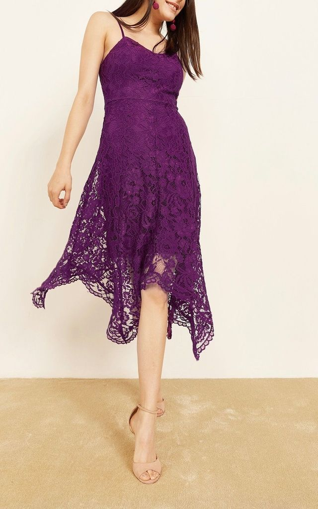 Amelia Strappy Handkerchief Lace Dress in Purple by Mimi + Alice