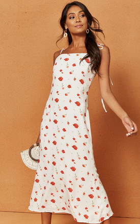 Valentine Midi Slip Dress in White floral print by Charlie Holiday
