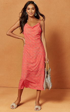 Penelope Midi Slip Dress in Red Ditsy Print by Charlie Holiday