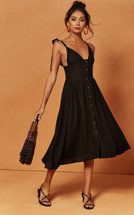 Oasis Strappy Button Front Midi Dress In Black by Charlie Holiday Product photo