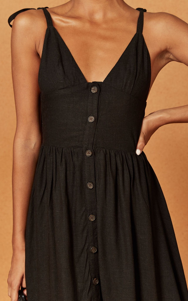 Oasis Strappy Button Front Midi Dress in Black by Charlie Holiday