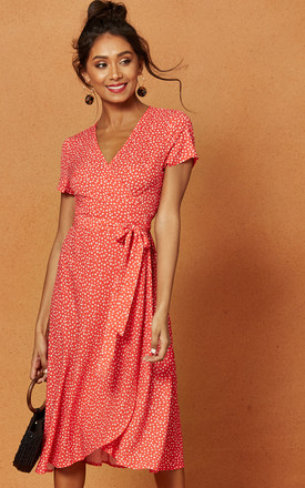 Penelope Wrap Midi Dress In Red Ditsy Print by Charlie Holiday Product photo