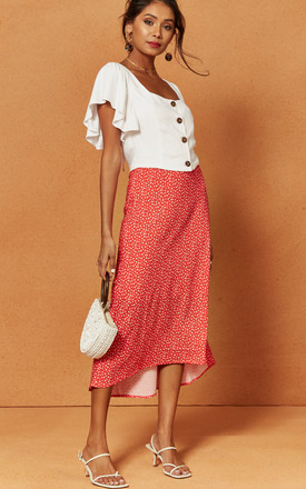 Penelope Midi Slip Skirt in Red Ditsy Print by Charlie Holiday