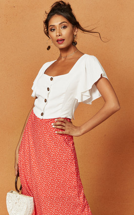 Bayview Button Front Cropped Top In White by Charlie Holiday Product photo