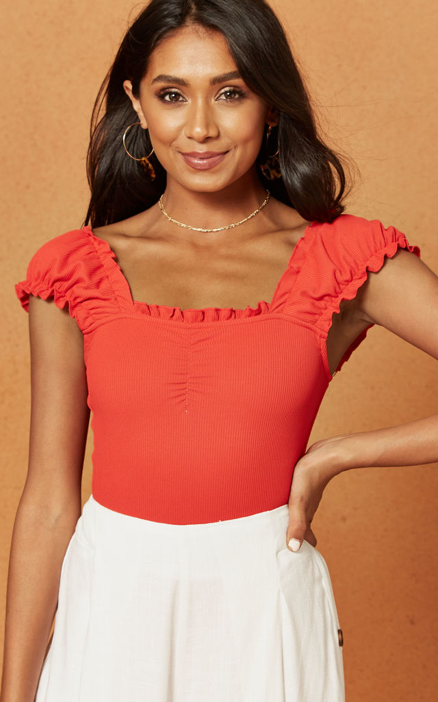 Cheri Ruched Bodysuit in Red by Charlie Holiday