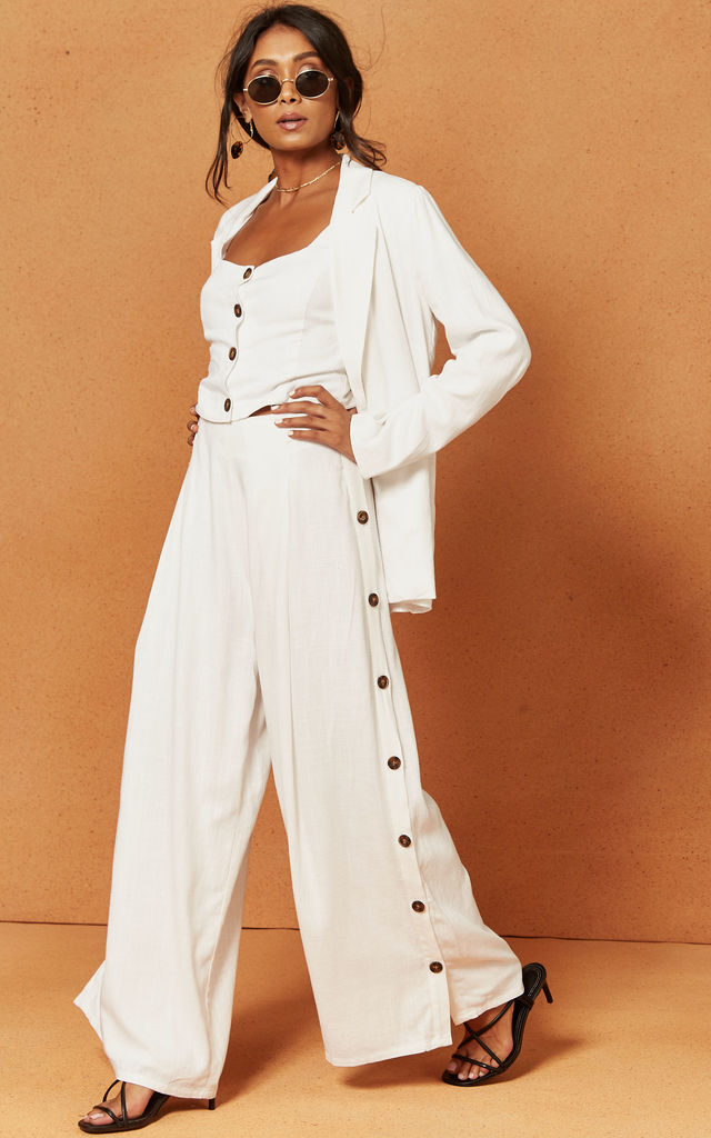 Bayview Palazzo Trouser in White by Charlie Holiday