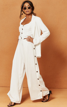 Bayview Palazzo Trouser In White by Charlie Holiday Product photo