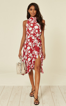 High Neckline Sleeveless Midi  Dress In Red And White Floral by D.Anna Product photo