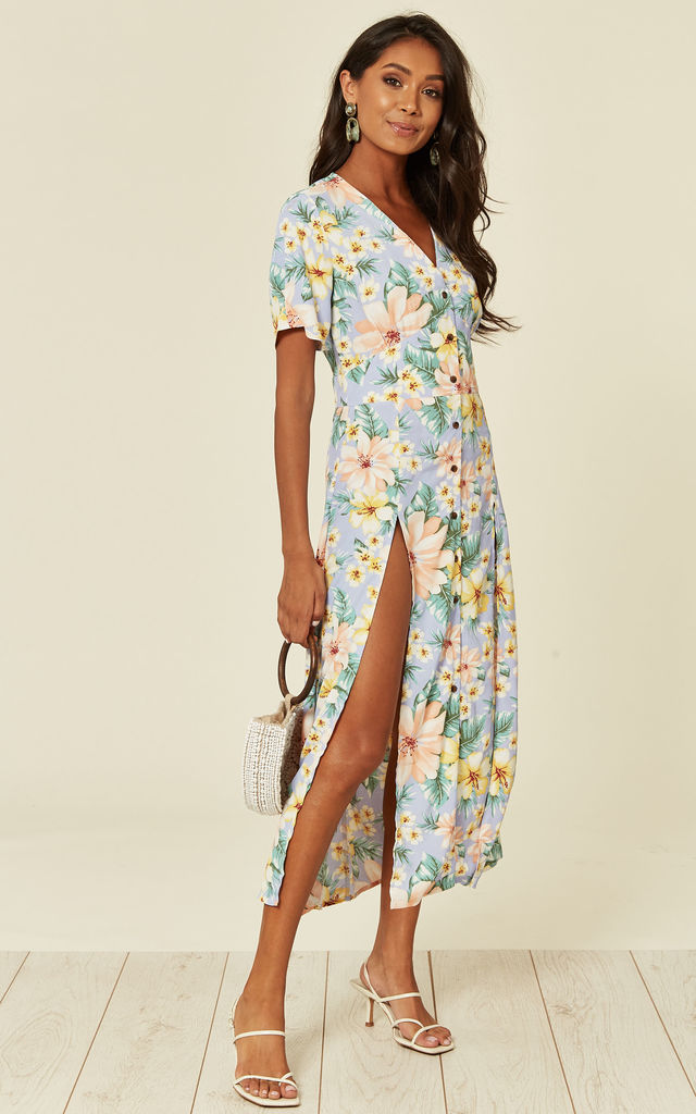 Lilac Multicoloured Floral Print & Button Through Maxi Dress with Two Front Splits by D.Anna