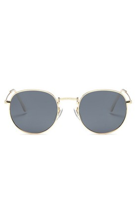 Angela 90s Circle Black-Gold Sunglasses by Don't Be Shady