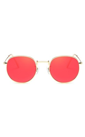 Angela 90s Circle Red Sunglasses by Don't Be Shady