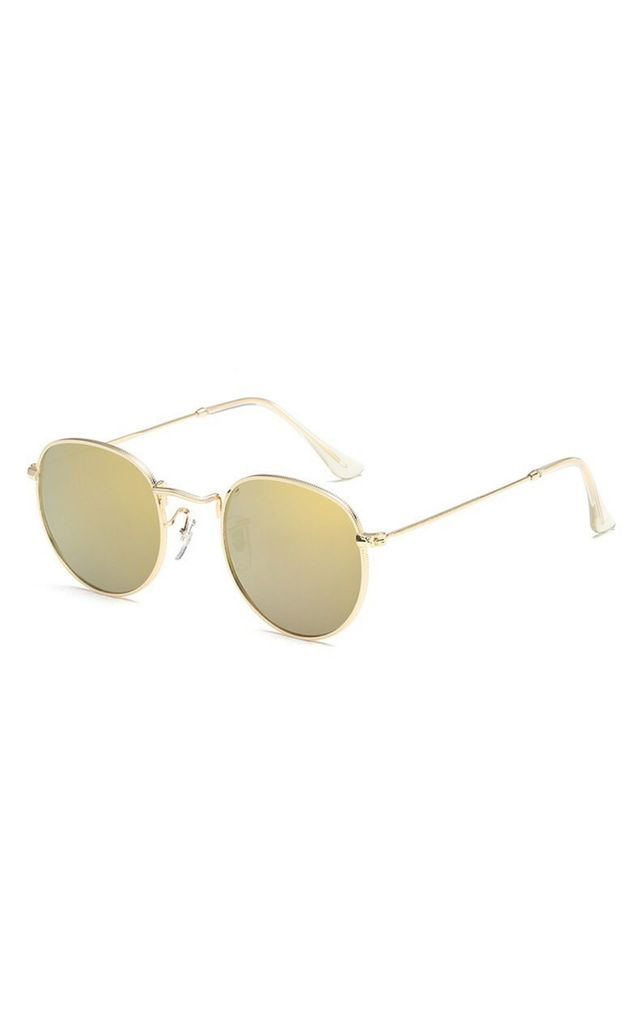 Angela 90s Circle Gold-Green Sunglasses by Don't Be Shady