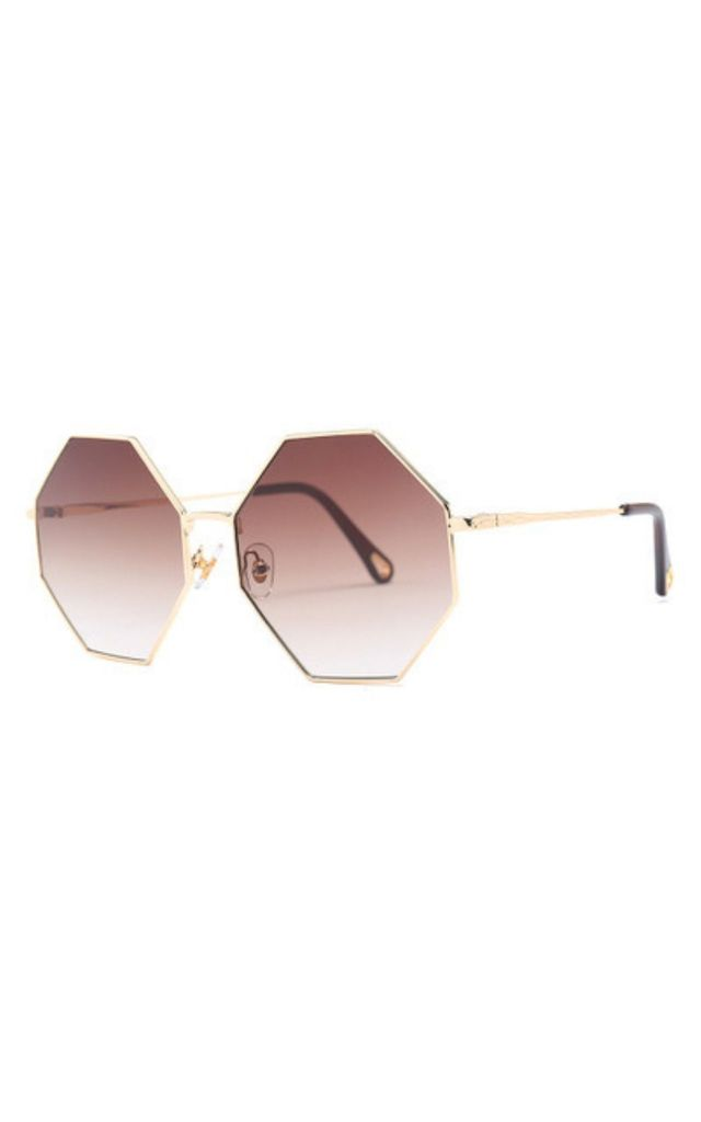 Michelle Oversized Octagon Brown Sunglasses by Don't Be Shady