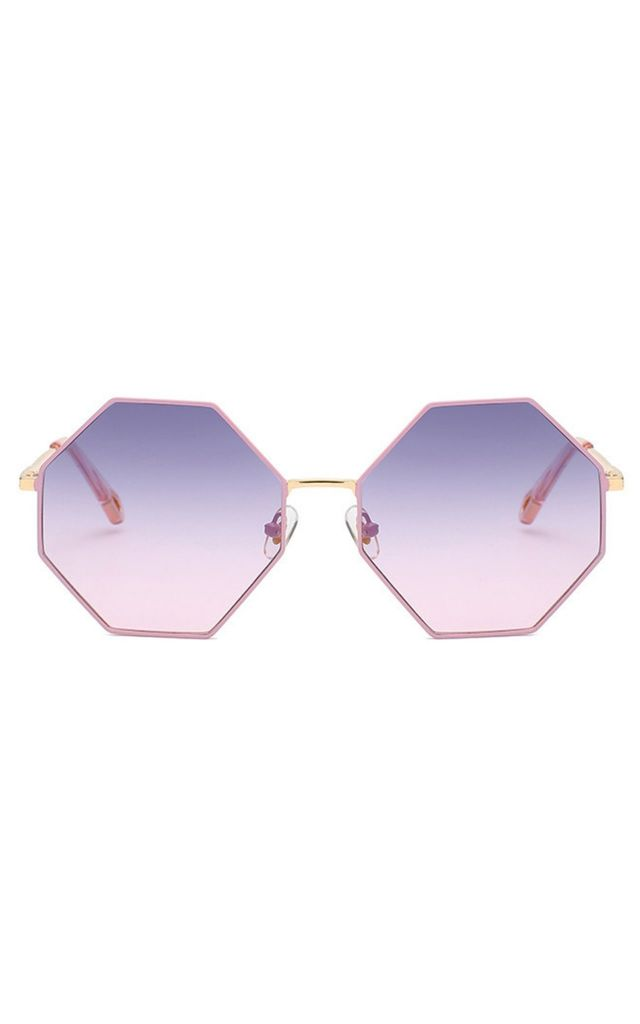 Michelle Oversized Octagon Purple Sunglasses by Don't Be Shady