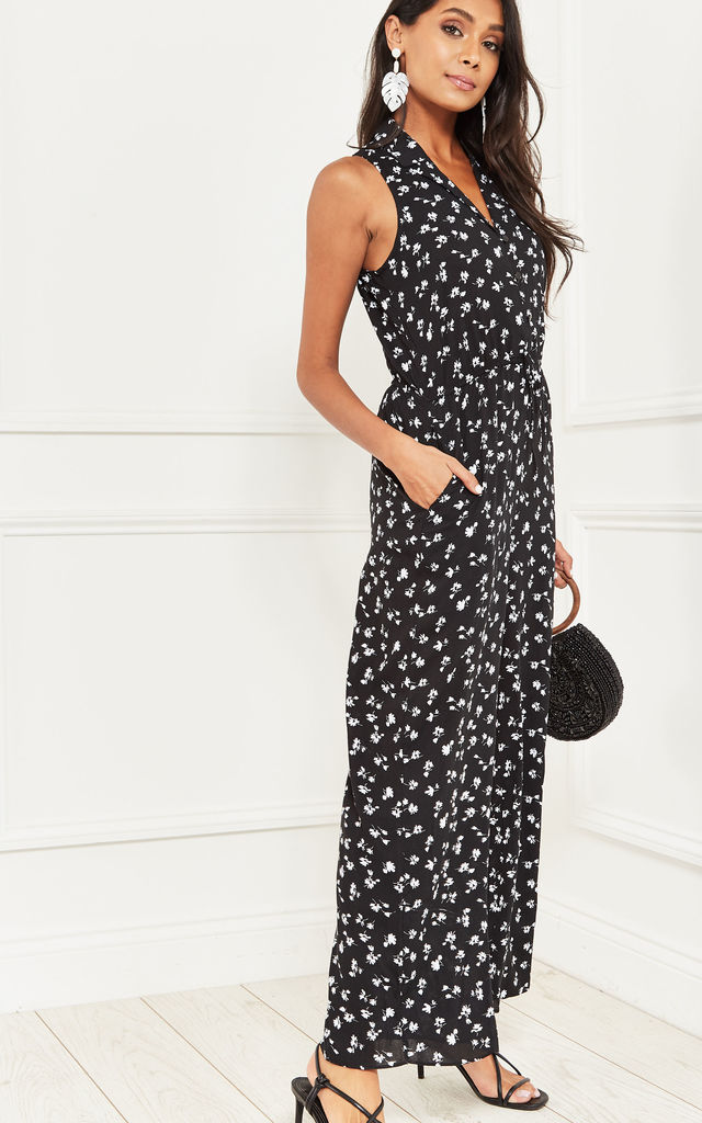Dora Sleeveless Jumpsuit in Black and White Daisy Print by Nobody's Child