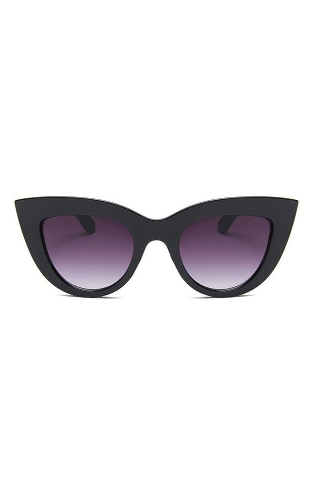 Kitty Cat Eye Black Shiny Sunglasses by Don't Be Shady