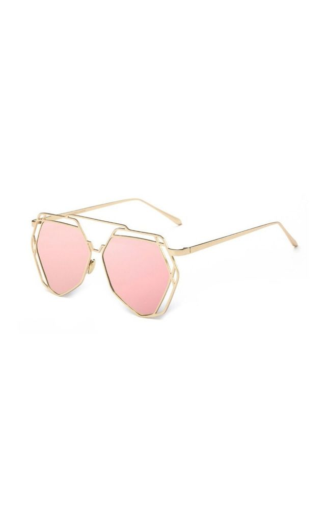 Lauren Hexagon Mirror Pink Sunglasses by Don't Be Shady