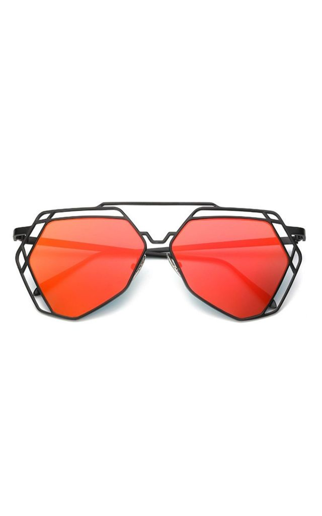 Lauren Hexagon Mirror Red Sunglasses by Don't Be Shady
