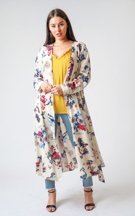Silky Flamingo Floral Print Longline Kimono Jacket in Cream by Urban Mist