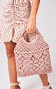 Pink Woven Wood Handle Tote Bag by Rogue Fox
