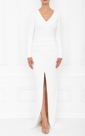 Jessica White Ivory Bodycon Maxi Dress With Front Split by Honor Gold Product photo