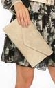 Beige Suede Envelope Clutch Bag by Dressed In Lucy