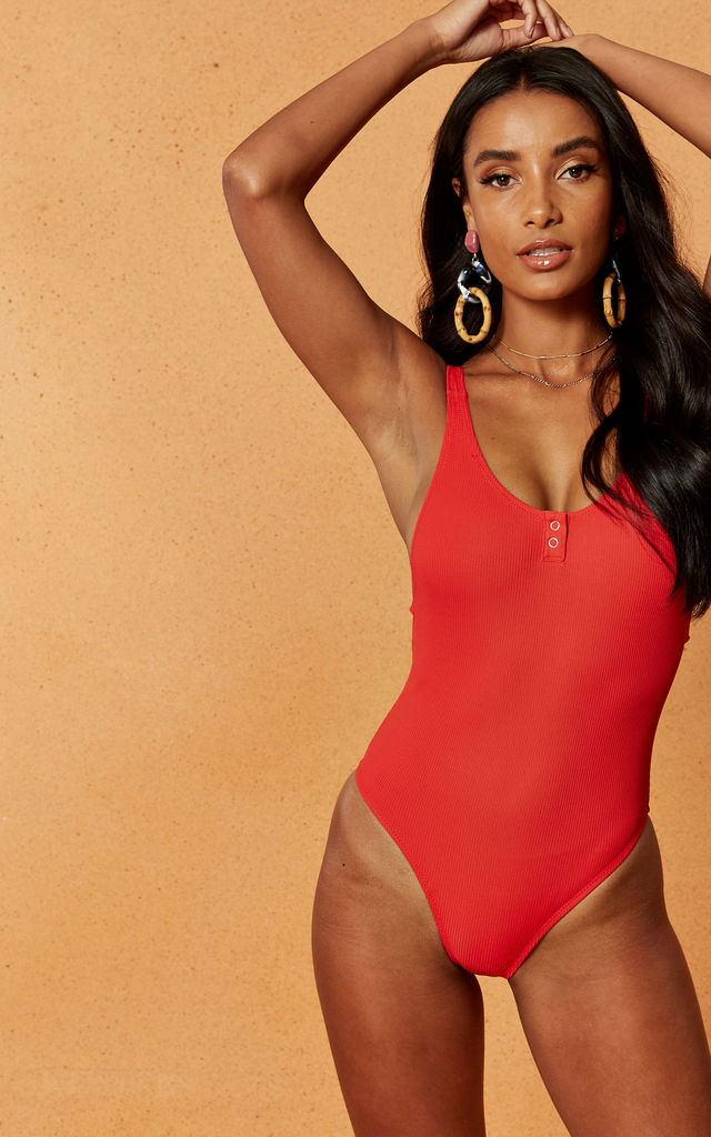 Badlands Ribbed Swimsuit in Red by Charlie Holiday