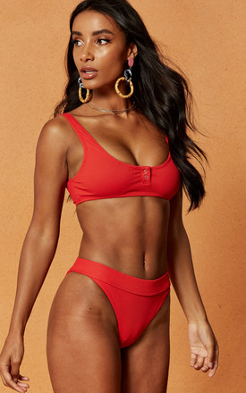 Badlands High Cut Rib Bikini Brief in Red by Charlie Holiday