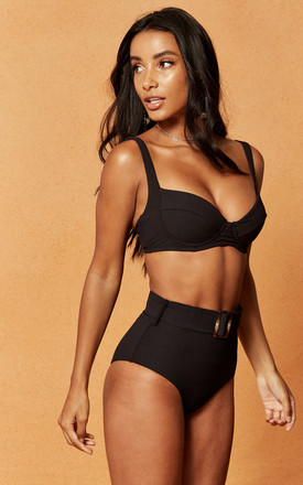 Expedition Rib High Waist Bikini Brief in Black by Charlie Holiday