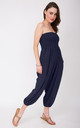 2 in 1 Cotton Harem Trouser or Bandeau Jumpsuit Navy Blue by likemary