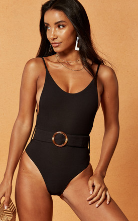 Expedition Belted Swimsuit In Black by Charlie Holiday Product photo