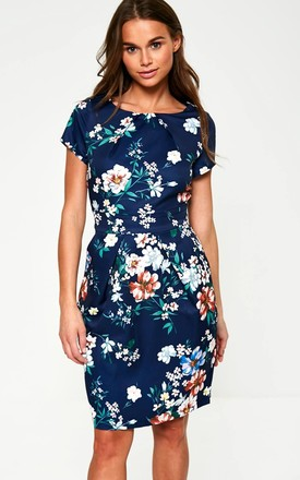 Short Sleeve Tulip Dress in Navy Floral Print by Marc Angelo