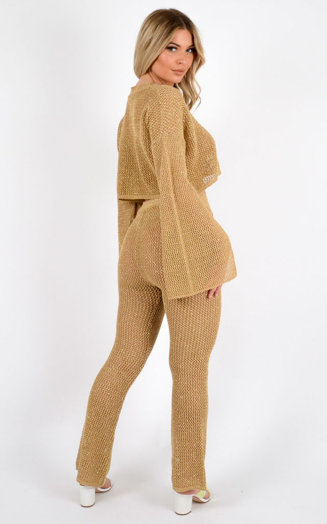 Sophie Lurex Knitted Crochet Split Sleeve Crop Top & Trouser Co-ord In Gold by Vivichi
