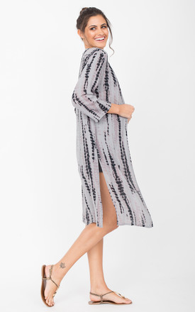 Summer Cover Up Crinkle Kimono Kaftan Tie Dye Grey by likemary