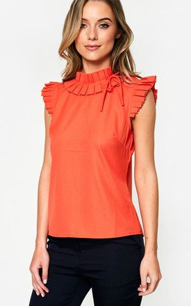 Sleeveless Frill Top in Orange by Marc Angelo