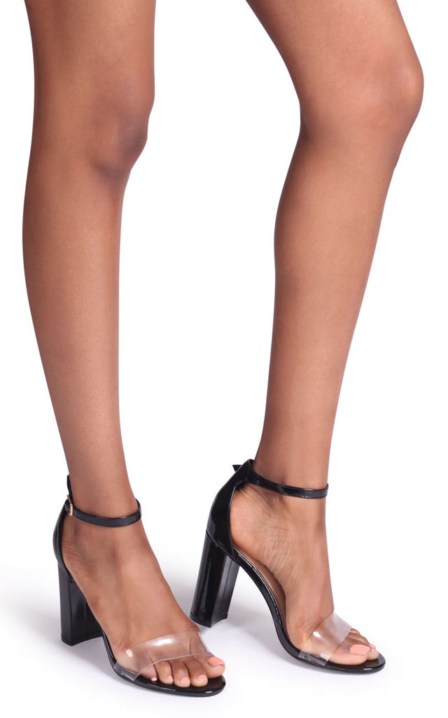 Lindy Black Patent & Perspex Single Sole Block Heel by Linzi