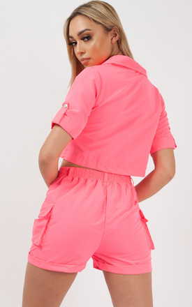 Haven Cargo Crop Top & Shorts Co-ord In Neon Pink by Vivichi