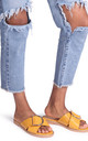 Vegas Yellow Croc Slip On Slider With Crossover Front Strap & Giant Buckle Detail by Linzi