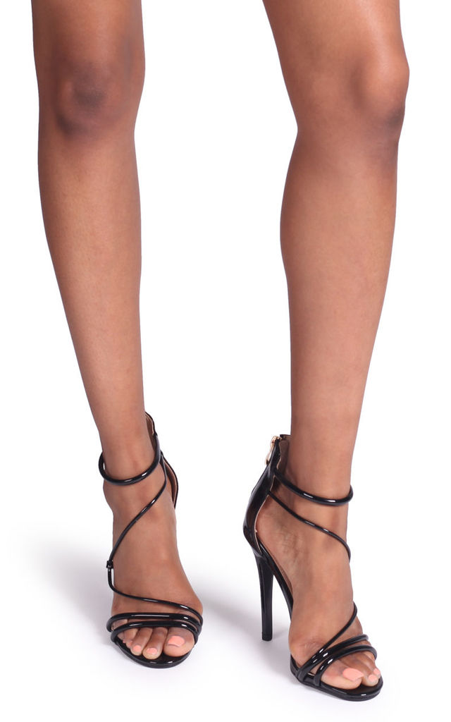 Corinna Black Patent Strappy Caged Stiletto Heel With Ankle Strap by Linzi