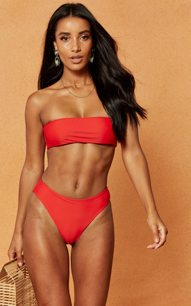 Morgan Bandeau Bikini Top In Red by Charlie Holiday Product photo