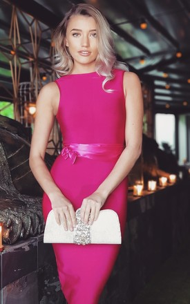Pink Bodycon Midi Dress With Self Belt by Fash1 Product photo