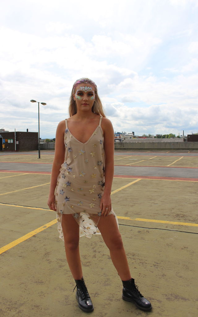 Zodiac Embellished Nude Slip Dress by Isolated Heroes