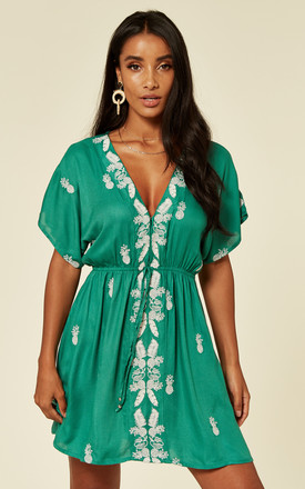 Green Pineapple Embroidered Mini Dress by Liquorish Product photo