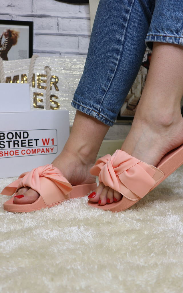 Pink coral bow sliders by Bond Street Shoe Company