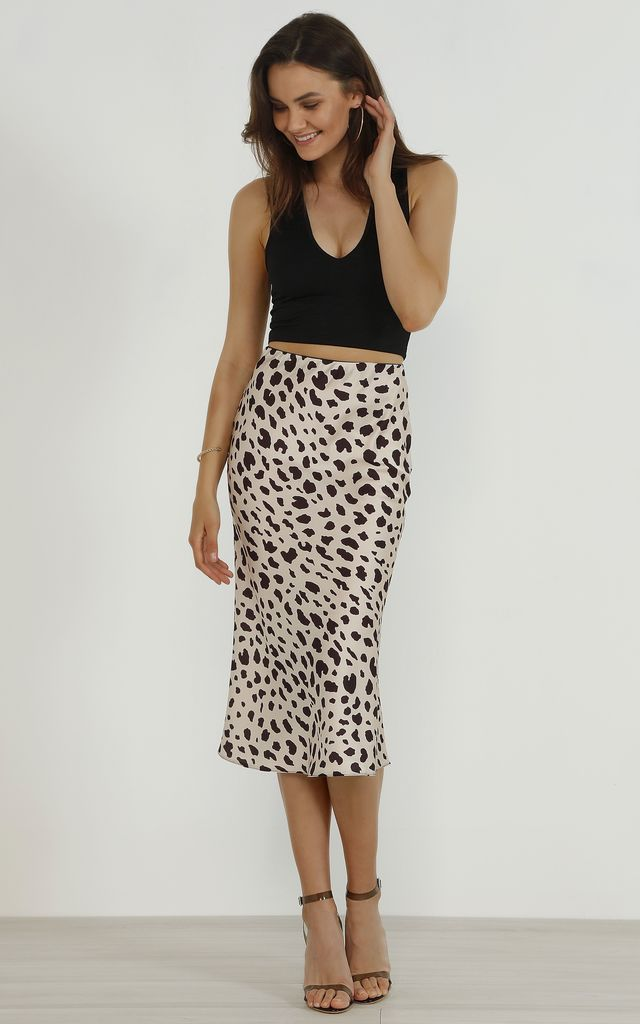 enjoy bottom price modern and elegant in fashion vivid and great in style Satin Animal Leopard Print Midi Slip Skirt By URBAN TOUCH